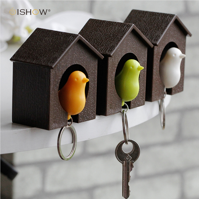 Fashion Whistle Bird House Keychain For The Keys Wall Mount Hook Holder Plastic Sparrow Key Chain