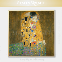 Reproduction Austria Vienna Oil Painting Hand painted Gustav Klimt The Kiss Oil Painting on Canvas Beautiful Portrait Painting