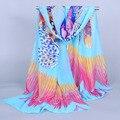 Direto da fábrica cachecol Marca de Moda das mulheres Do Vintage desigual xaile do lenço Das Mulheres lenços chiffon 2016 do sexo feminino impressão borboleta W142