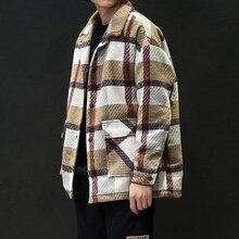 معطف من الصوف بتصميم منقوش للشتاء كاكي للرجال موضة عام 2019 معاطف البازلاء أحادية الصدر بمقاسات كبيرة 5XL معاطف #3093