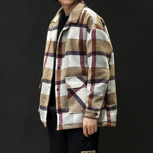 Image 1 - גברים של תעלת חאקי 2019 חורף משובץ עיצוב צמר מעיל גברים אופנה אחת חזה אפונה מעיל גדול גודל 5XL אדום #3093