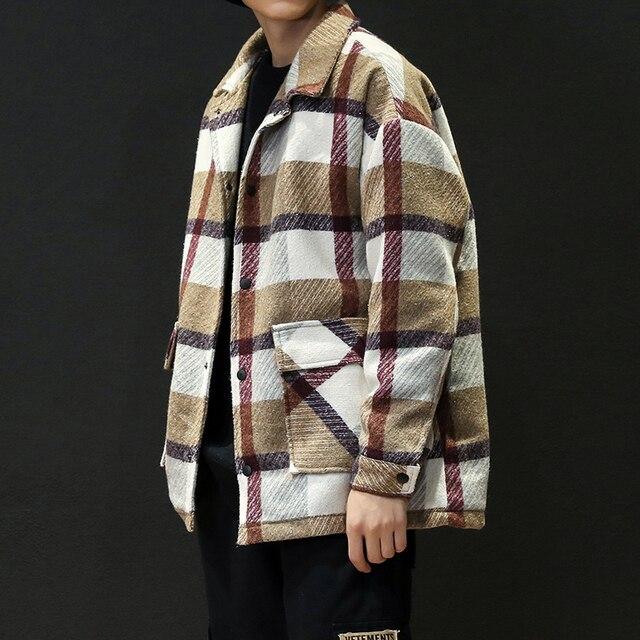 גברים של תעלת חאקי 2019 חורף משובץ עיצוב צמר מעיל גברים אופנה אחת חזה אפונה מעיל גדול גודל 5XL אדום #3093