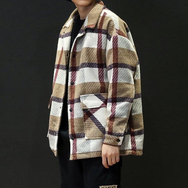 Mens Trench Khaki 2019 Winter Plaid Design Woolen Coat Men Fashion Single Breasted Pea Jacket Big Size 5XL Red Overcoats #3093