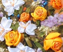 Band stickerei 50X60 cm lily rose exquisite 3d druck große gemälde kreuz diamant