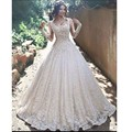 Vestidos De Novias V Neck Illussion Bodice Beaded Pearls Long Sleeve Lace A Line Wedding Dresses