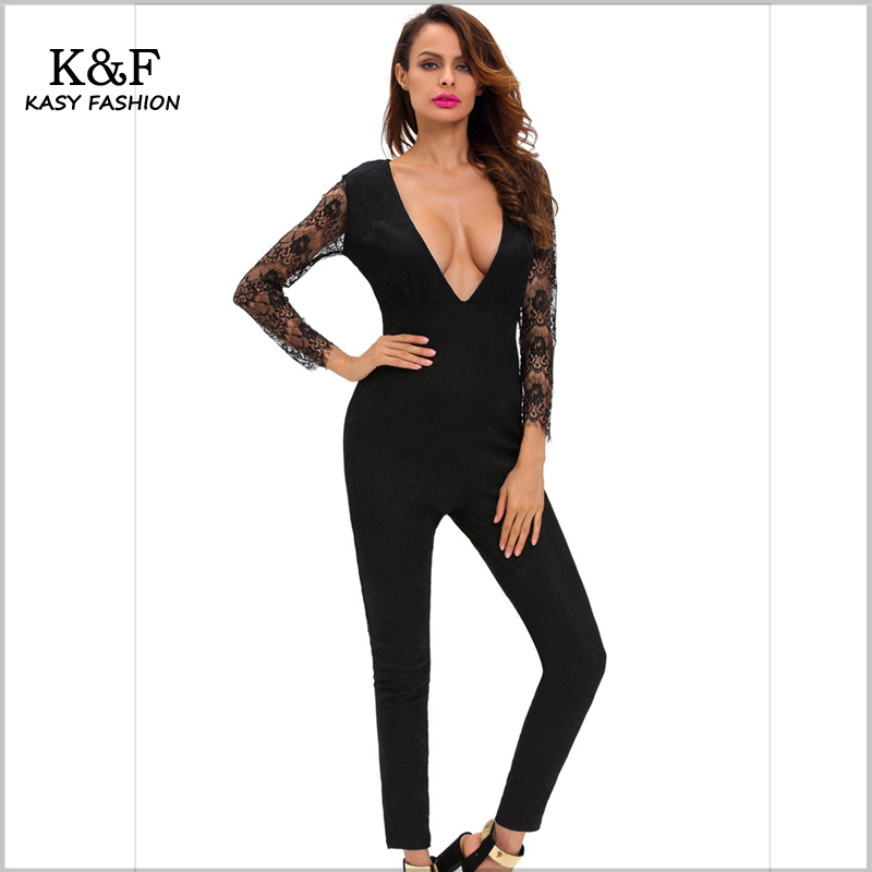 5f4030beb92 KASY Women Sexy Deep V neck Black Lace Jumpsuit Hot Skinny backless Night  Club Rompers Monos Largos para Mujer negro rosado