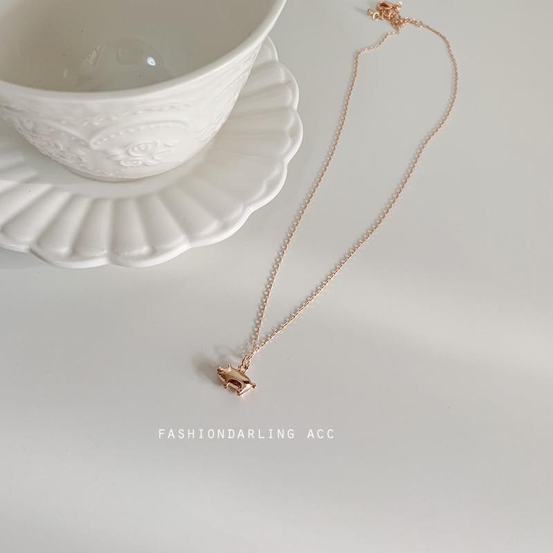 ZTUNG COP11 femmes bijoux fins, 925 argent belle forme de porc pendentif, simple et collier de mode pour un cadeau