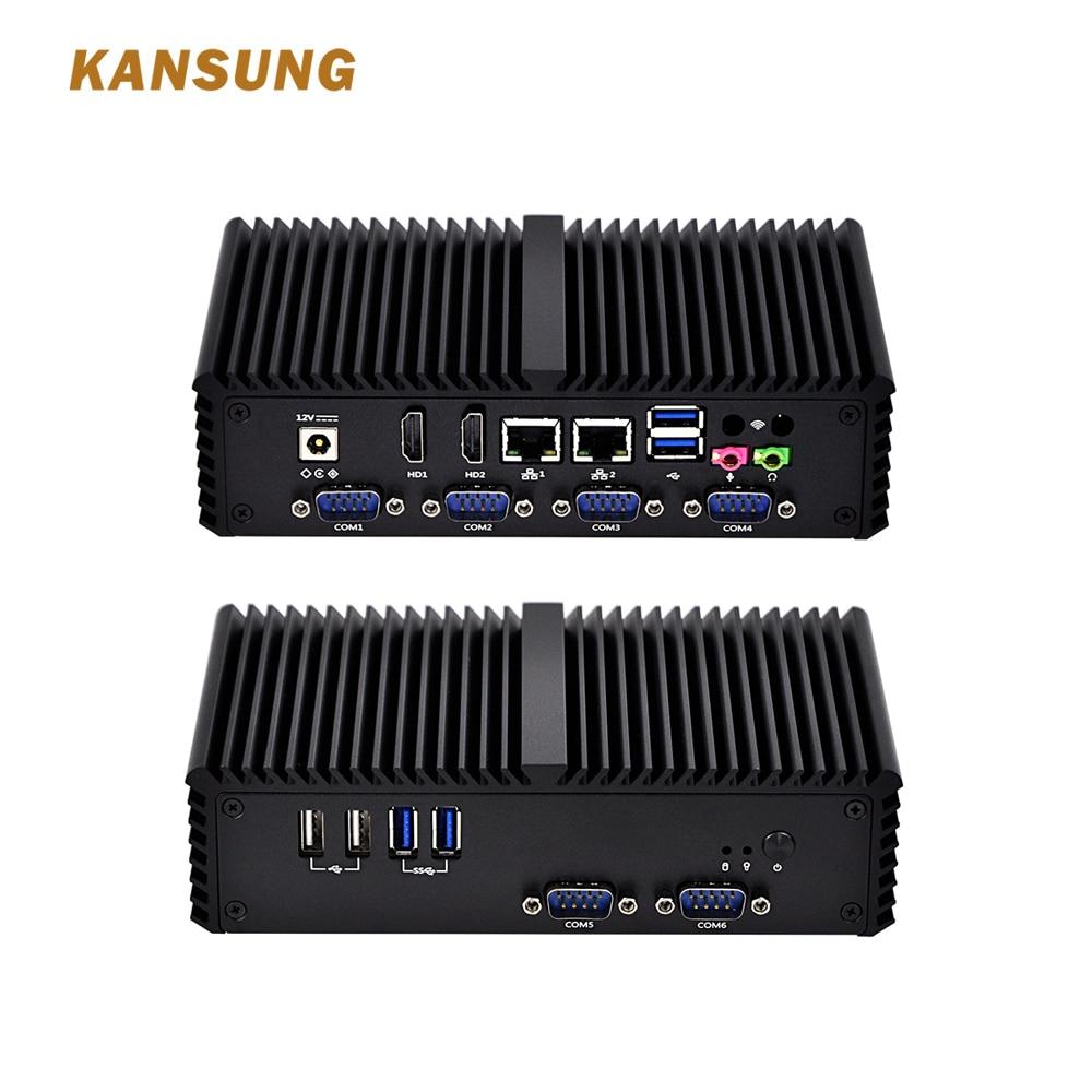 KANSUNG Cheap Mini Server Assemble Desktop 4005U Dual Core Processor Low Cost 12v Fanless Mini Pc 2 Lan Port Computer Core I3