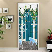 3D Wall Door Sticker European Court Arch Night Wallpaper For 3 D Living Room Bedroom Home Decor Decals PVC Self-Adhesive Mural