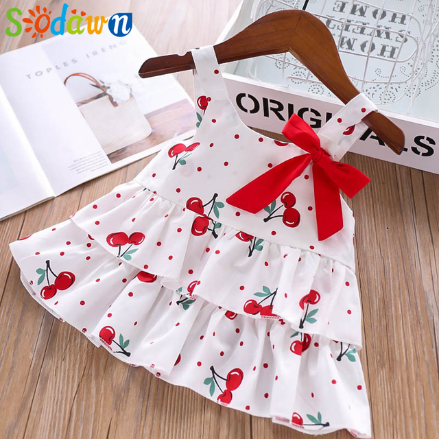 Sodawn Summer Kids Clothes Girls Bow Color Polka Dot Cherry Top + Shorts Girls Clothes Clothing Sets
