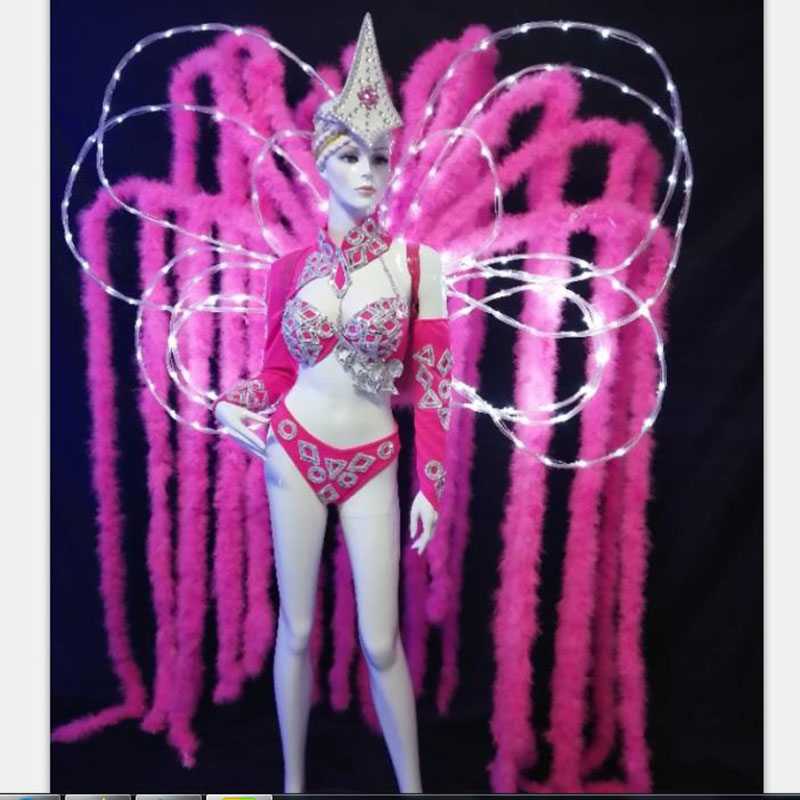 Custom Pink Color LED Light Led Women Costume Feather Backboard Dancing Costume For Carnival