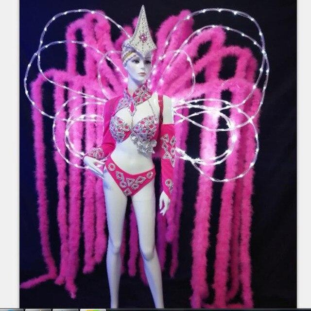 custom pink color LED light led women costume feather backboard dancing costume for carnival