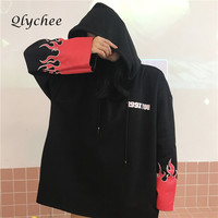 Qlychee Flame Letter Hoodies Sweatshirt Long Sleeve Loose Pullover Sweatshirt Women Hoodies 2017 High Quality Free