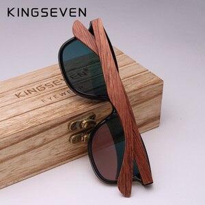 Image 2 - KINGSEVEN lunettes de soleil Vintage en bois pour hommes, verres plats polarisés, monture carrée sans bords, Oculos Gafas, collection 2019
