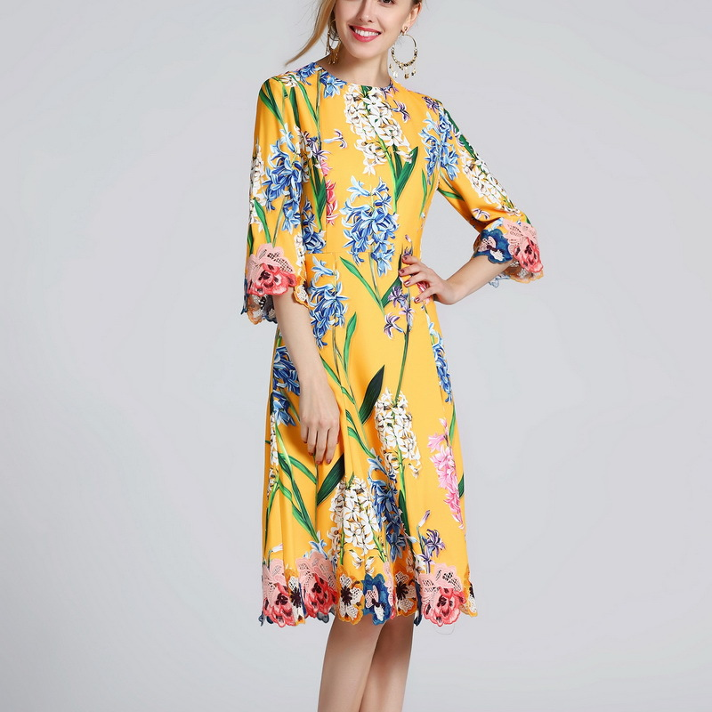 2019 Spring New Women s Flower Hyacinthn Printed Embroidery Dress 181106Z01
