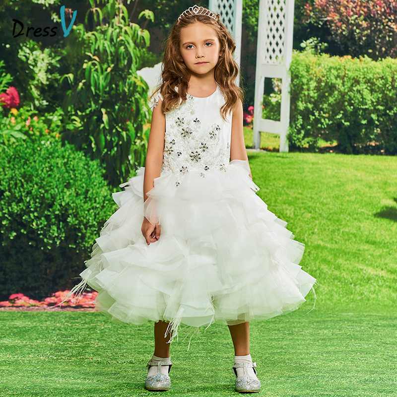 Dressv   Flower     Girl     Dress   Ivory Ball Gown Scoop Neck Sleeveless Tea Length Appliques Beading Cascading Ruffles   Flower     Girl     Dress