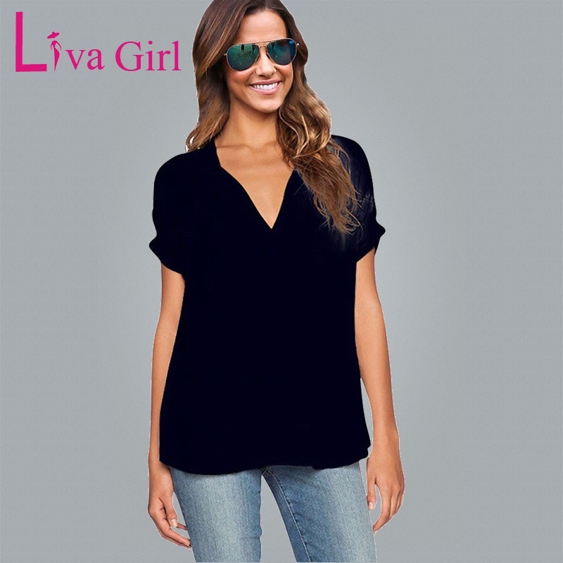 LIVA GIRL Black Chic Women Plus Size T-Shirt Summer Sexy V Neck oversized Chiffon Top Casual 2019 Female New Tees Pure Large 4XL
