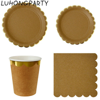 44pcs Kraft Paper Gold Stripe Foil Gilded Party Tableware High Quality Paper Plate Cup Napkin Birthday Bridal Party Decoration
