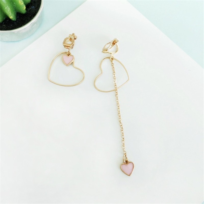 Heart-Shaped Earrings Japanese And Korean Girls Love Personality Fashion Wild Asymmetric Pendant Ear Clip Wholesale 4