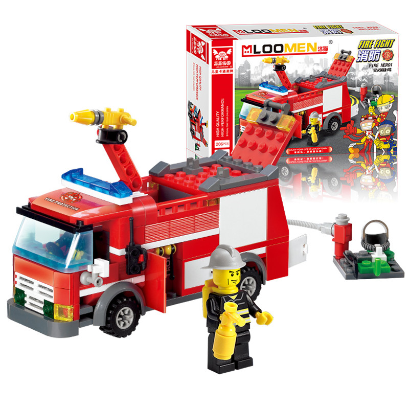 Hot Fire Fight Truck Building Blocks with CITY Fire Educational Bricks Toys Fireman DIY Bricks Brinquedo Christmas gift banbao 8313 290pcs fire fighting ladder truck building block sets educational diy bricks toys christmas kids gift