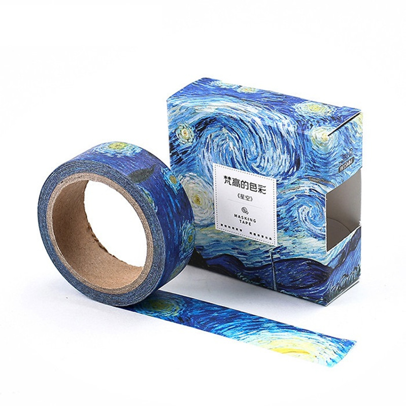 8 Pcs/Lot Oil Painting Paper Washi Tapes Van Goah Canvas 15mm*7m Decorative Masking Stickers For Diary Album Scrapbooking F186