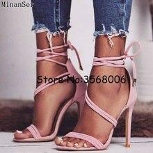 Sandales à talons hauts à nouer à la cheville pour femmes, en daim, noir, rose, robe de soirée de mariage, escarpins à talons fins