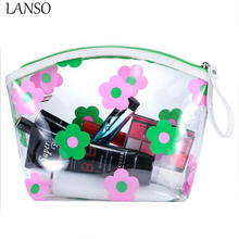 2017 New Waterproof Thickening Pvc Transparent Cosmetic Bag Female Printed Transparent Leaves Flower Dumplings Makeup Case