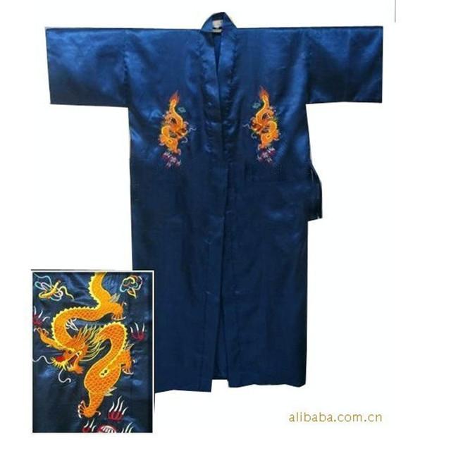 Azul marino chinos hombres de satén de seda Robe bordado del Kimono de baño vestido ropa de dormir de verano del dragón sml XL XXL XXXL