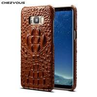 CHEZVOUS Luxury Brand New Design Protective Case For Samsung S8 S8 Plus Crocodile Pattern Back Cover