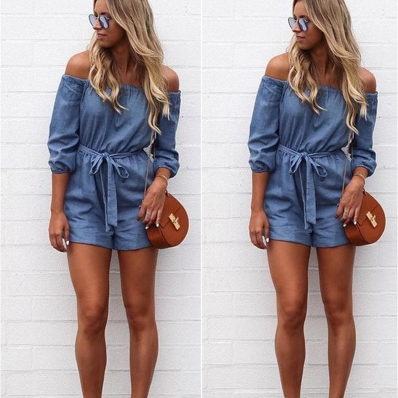 Fashion Woman Summer Shorts Short Casual Off Shoulders Jumpsuits Jeans Coverall Women Jumpsuit Denim Overalls Shirt Rompers