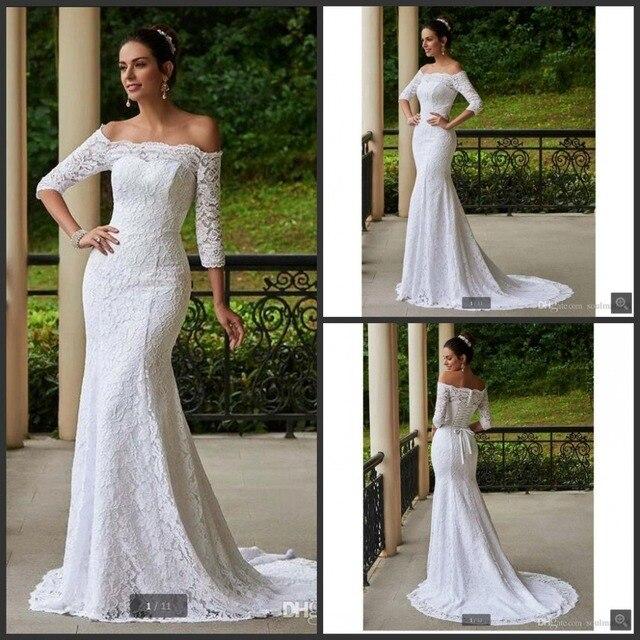 7f90bd7072d9fc Vestidos De Noiva sereia lace vestido de casamento branco 2017 africano 3/4  manga comprida