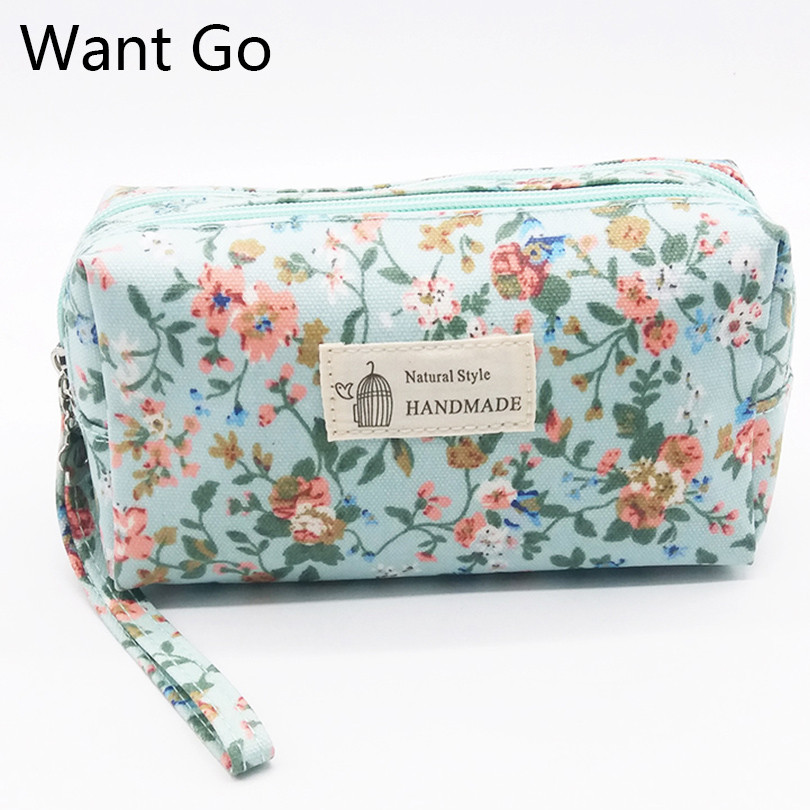 Want Go National Women Make Up Bag Zipper Cosmetic Bags Floral Print Vintage Female Clutch Bag Vanity Toiletry Organizer Pouch