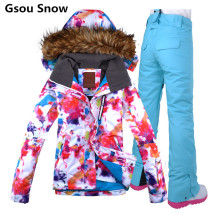 Gsou Ladies Colorful Snowboard Ski Suit Female Thermal Waterproof Snow Jacket Women Ski Pants Skiing Clothing Skiwear