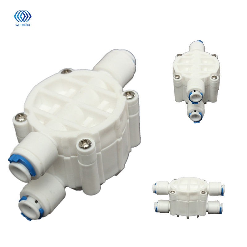 4 Way 1/4 Port Auto Shut Off Valve Water Pipe Shunting Device Parts For RO Reverse Osmosis Water Filter System