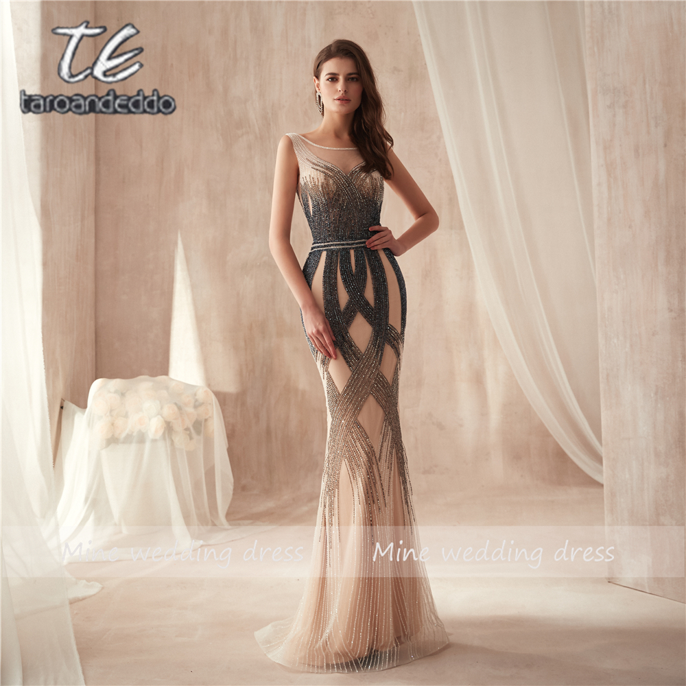 O-neck High Design Multicolor Beading Mermaid   Prom     Dress   2019 Sleveless Slim High Quality Evening   Dress   vestido de festa