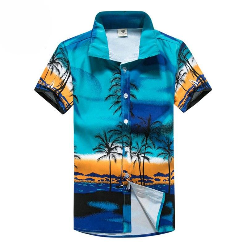 Tailor Pal Love 2017 Summer Printing Hawaiian Shirt Men Short Sleeve Casual Mens Shirt (Asian Size)