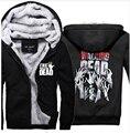 2017 nuevo invierno con capucha negro The Walking Dead Zombie Manos Scary marca chándales de los hombres abrigo de Lana con cremallera espesar Con Capucha de down