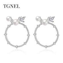 ФОТО tgnel s925 sterling silver stud earrings vintage natural pearl circle earring for women&girl silver color jewelry brincos