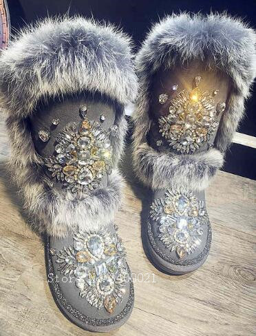 Winter Australia Fox Fur Snow Boots Mujer Luxury Crystal Studded Warm Snow Botas Women Flats Shoes With Fur fox fur warm autumn winter wedges snow fox snow women australia boots shoes genuinei mitation lady short boots casual long snow