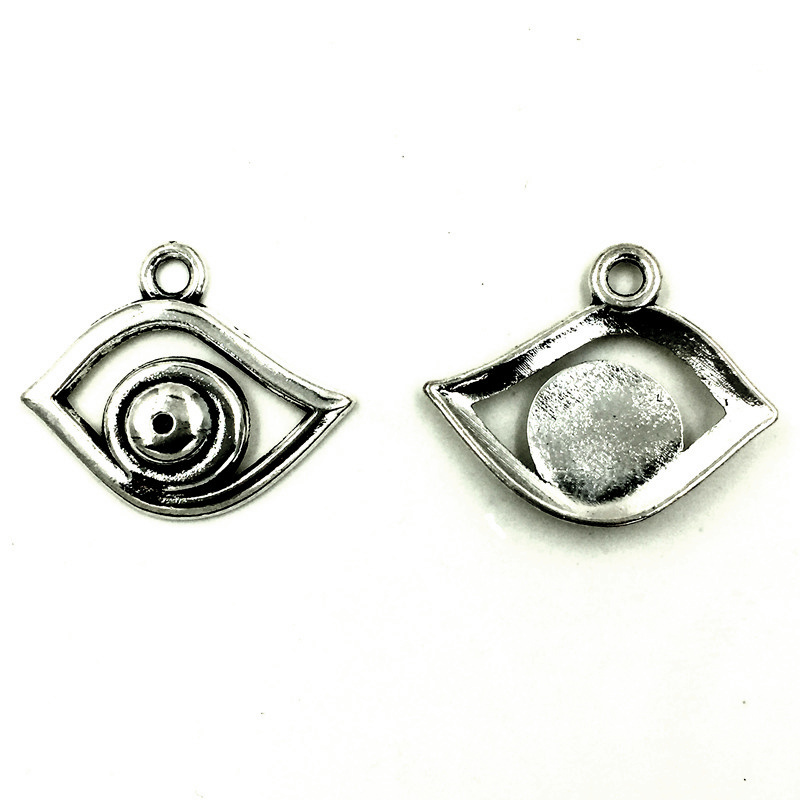 30Pcs Retro Silver Tone Evil Eye Charms Pendant Jewelry Findings 22x18mm in Charms from Jewelry Accessories