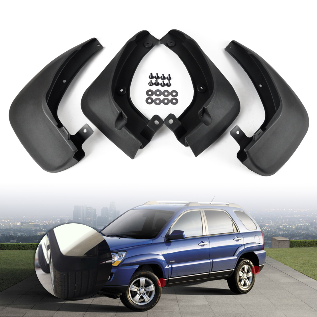 CITALL New Hot Mud Flaps Splash Guards Mudguard Mudflaps Fenders 4 PCS Black For KIA Sportage 2005 2006 2007 2008 2009 2010 все цены
