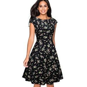 Image 5 - Nice forever Elegant Vintage Floral Printed Party vestidos Cap Sleeve A Line Female Flare Swing Women Dress btyA067