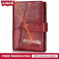 KAVIS Free Engraving Genuine Leather Wallet Female Women Coin Purse Walet Portomonee Mini Gift For Lady
