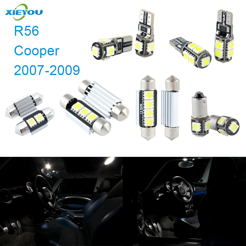 XIEYOU 9pcs LED Canbus Interior Lights Kit Kit para Cooper R56 (2007-2009)