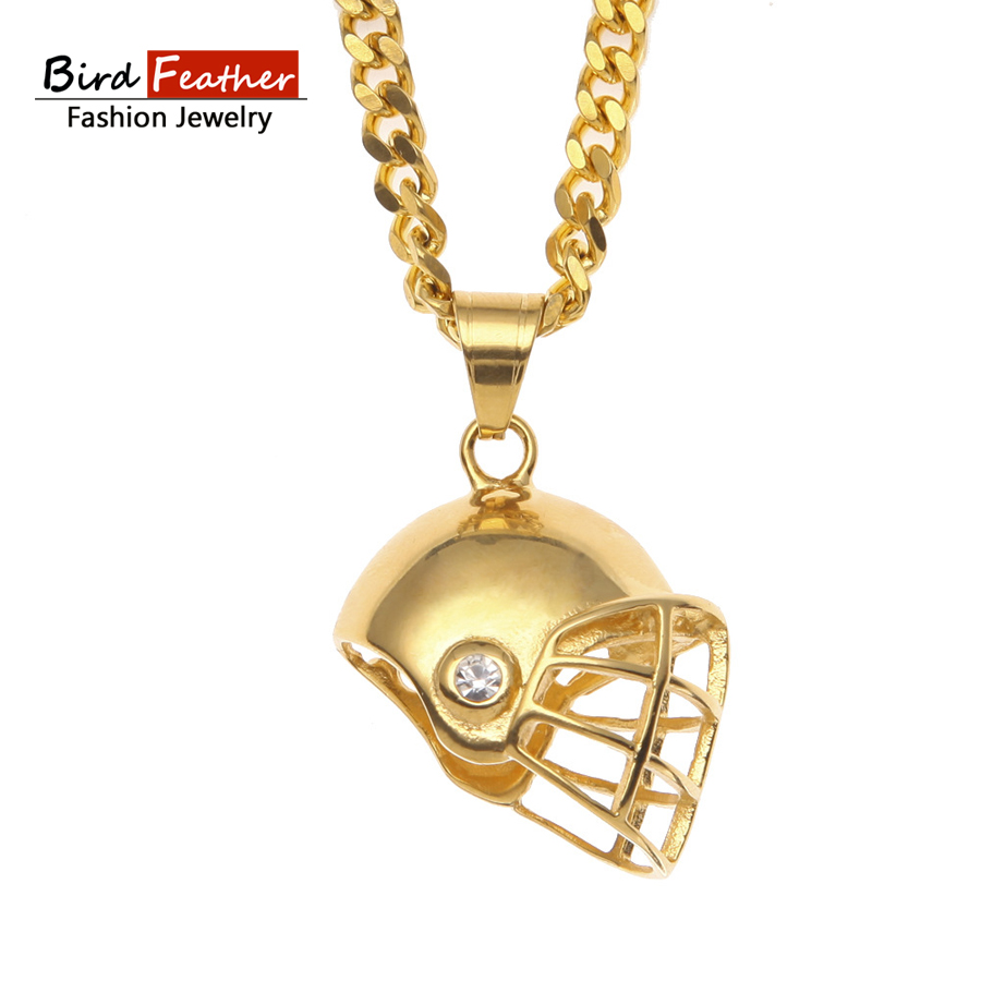 Bird Feather Stainless Steel Necklace for men women Football Helmet Pendant Chain Necklaces & Pendants Hip Hop Fashion Jewelry