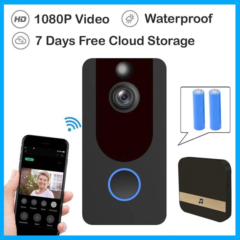1080P Doorbell WiFi Smart Wireless Security Door Bell Smart Intercom Recording Remote Waterproof Video Cloud storage Door Phone