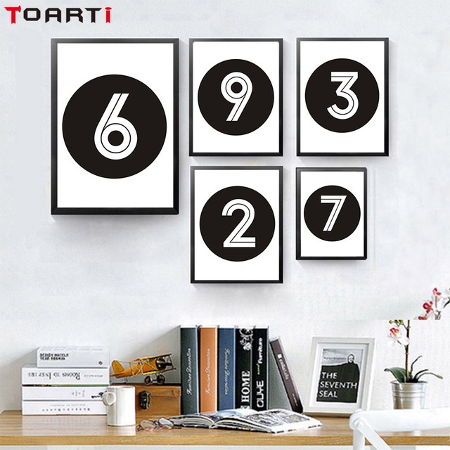 Black White Numbers 1 Through 10 Minimalist Art Canvas Print Painting Poster Wall Pictures Printable Home