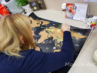 Travel Scratchable World Map Size 82x59cm Added Bonus Traveller's Adventure maps Easy to Scratch Best Personalised Gift