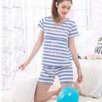 Maternity Striped Sleep Lounge Pajama Sets Pregnant Nursing Breastfeeding Sleepwear Women Cotton Tops Shorts AA11372