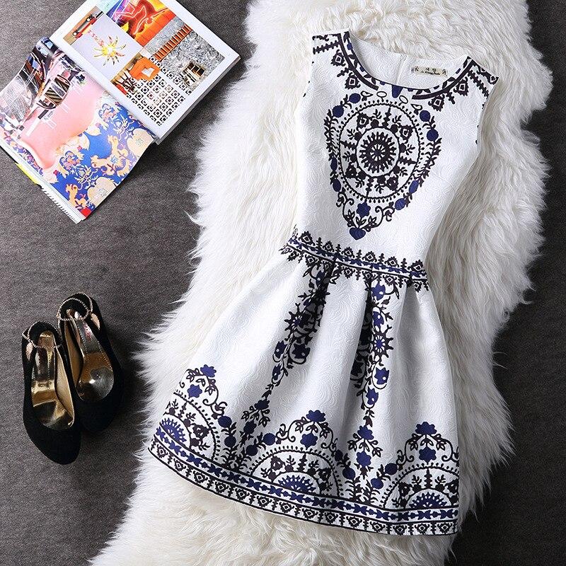 Moda verano de las mujeres de otoño casual chaleco vintage party dress impreso f